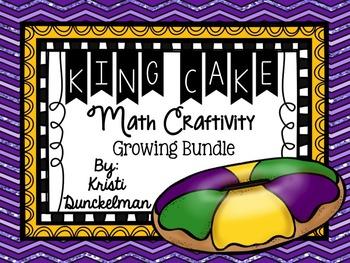 Mardi Gras King Cake Math Craftivity--Growing Bundle