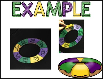Mardi Gras King Cake Math Craftivity--Subtraction 1-10