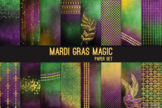 Mardi Gras Magic Glitter Gold Foil 12x12 Digital Paper Art