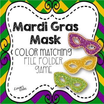 Mardi Gras Mask Color Matching File Folder Game