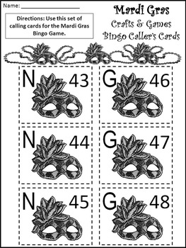 Mardi Gras Math Activities: Mardi Gras Bingo Game Activity Packet