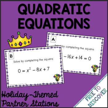 Mardi Gras Math Activity - Solving Quadratic Equations