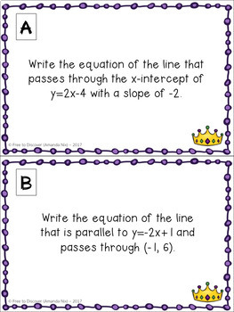 Mardi Gras Math Activity - Writing Equations in Slope Intercept Form