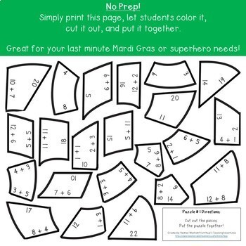 Superhero Mask Addition Puzzles: Great for Superhero Classroom Theme Decor