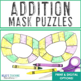 ADDITION Mardi Gras Math Puzzles, Centers, Stations, Games, or Activities