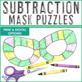 SUBTRACTION Mardi Gras Mask Puzzles - Great for Math Centers or Activities