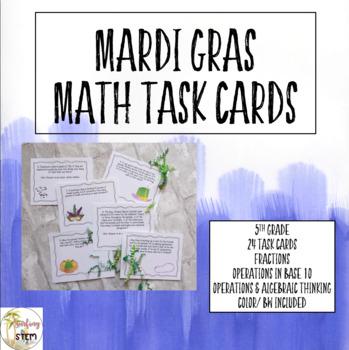 Mardi Gras Math Task Cards Grade 5