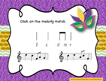 Mardi Gras Melodies - A stick to staff notation game for practicing re