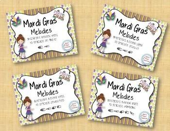 Mardi Gras Melodies! BUNDLE of 4 Melodic Practice Games!