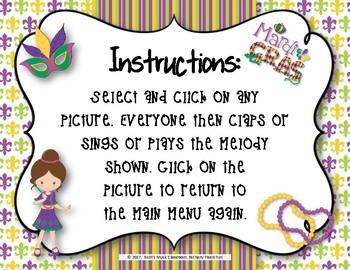 Mardi Gras Melodies! Interactive Melodic Game - Pentatonic (So-Mi-La-Do-Re)