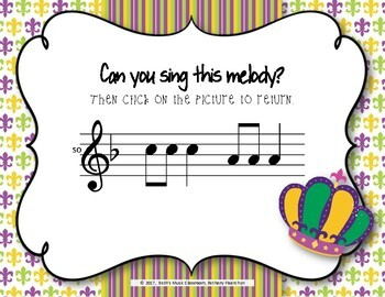 Mardi Gras Melodies! Interactive Melodic Game - Practice So and Mi