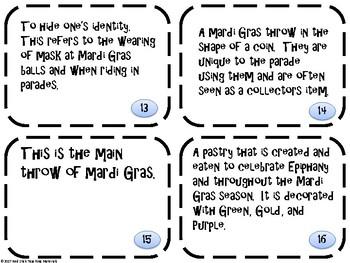 Mardi Gras Memory/ Matching Game
