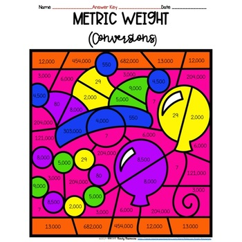 Mardi Gras Metric Weight Conversions Color by Number
