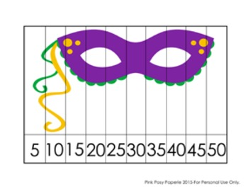 Mardi Gras Number Counting Puzzles - Skip by 5