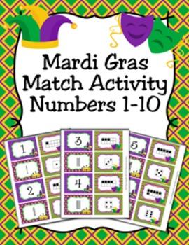 Mardi Gras Number Match Activity