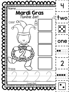 Mardi Gras Number Sort 1-10