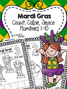 Mardi Gras Numbers 1-10: Count, Color, & Trace