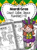 Mardi Gras Numbers 1-10: Count, Color, & Trace {Distance L