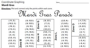 Mardi Gras Parade - A Coordinate Graphing Activity