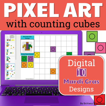 Mardi Gras Pixel Art with Counting Cubes