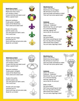 Mardi Gras Poems / Songs - Shared Reading & Fluency-Color & BW