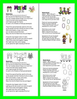 Mardi Gras Activities: Poems / Songs - Shared Reading & Fluency - Color & BW