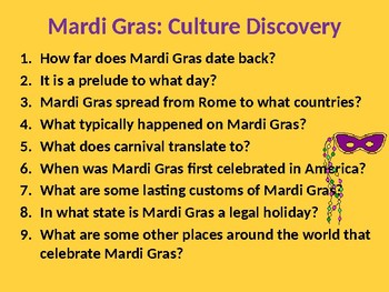 Mardi Gras - Questions for a class discussion