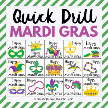 Mardi Gras Quick Drill {for articulation or fluency therapy & RtI}