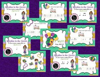Mardi Gras Rhythm & Melody Games and Activities 10 item BUNDLE