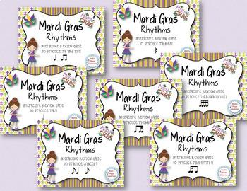 Mardi Gras Rhythms! Interactive Practice Game BUNDLE! 7 Rhythm Review Games