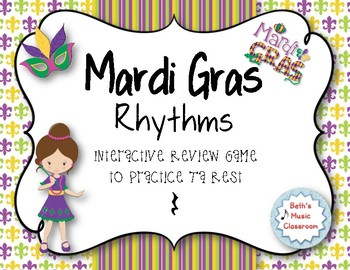 Mardi Gras Rhythms! Interactive Rhythm Practice Game - Ta Rest