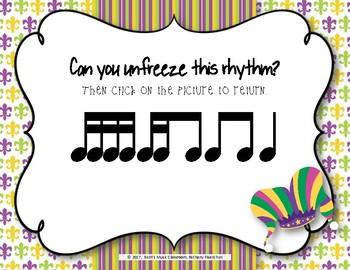 Mardi Gras Rhythms! Interactive Rhythm Practice Game - Tika-ti