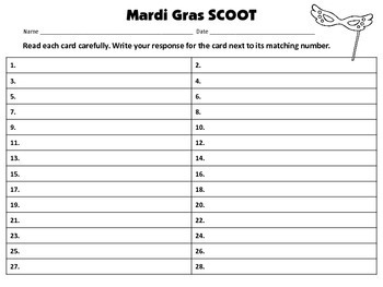 Mardi Gras SCOOT Alphabetical Order w/Bonus Game Board