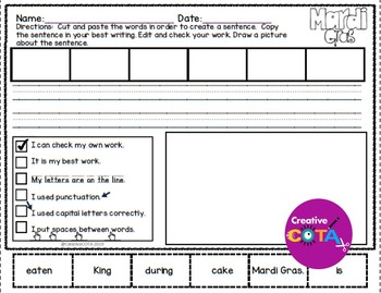 Mardi Gras Scrambled Sentence Cards with Cut and Paste Worksheets