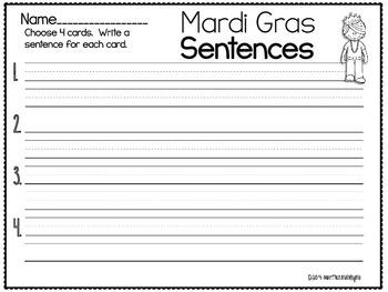Mardi Gras Sentences FREEBIE
