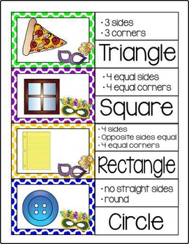 Mardi Gras ~ Shapes for First Grade