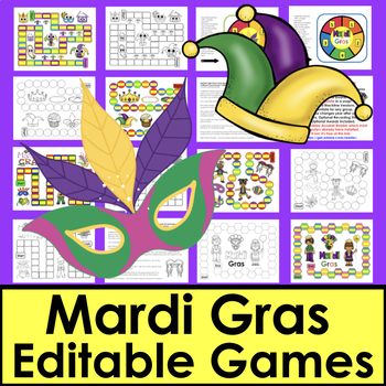 Mardi Gras Sight Word Games EDITABLE for Letters, Math Facts, too!