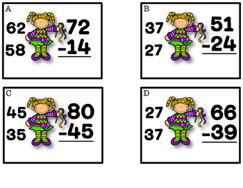 Mardi Gras Subtraction with Regrouping Activities and Practice Sheets