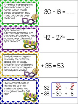 Mardi Gras - Subtraction with regrouping