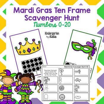 Mardi Gras Ten Frame Scavenger Hunt by Kindergarten by Katie   TpT