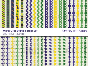 Mardi Gras Theme Digital Border Clip Art Set