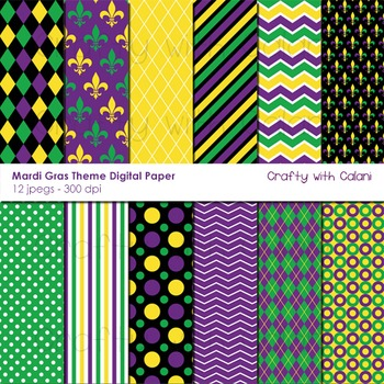 Mardi Gras Theme Digital Paper Set