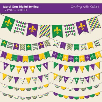 Mardi Gras Theme Digital Pennant Bunting Clip Art Set