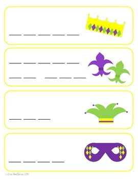 Mardi Gras Vocabulary Cards and Spelling Practice