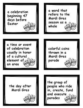 Mardi Gras Vocabulary Matching Game