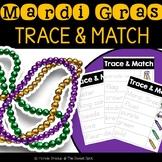 Mardi Gras Vocabulary Trace & Match Task Cards