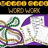 Mardi Gras Vocabulary Word Work Worksheets
