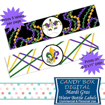 Mardi Gras Water Bottle Labels / Napkin Rings