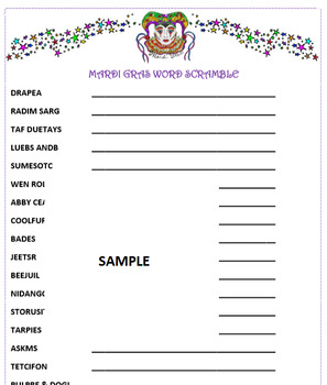 photo about Printable Word Games named Mardi Gras Phrase Scramble Activity- February Enjoyment! Printable