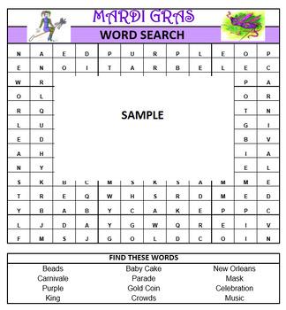 Mardi Gras Word Search Game- February Fun!  Printable